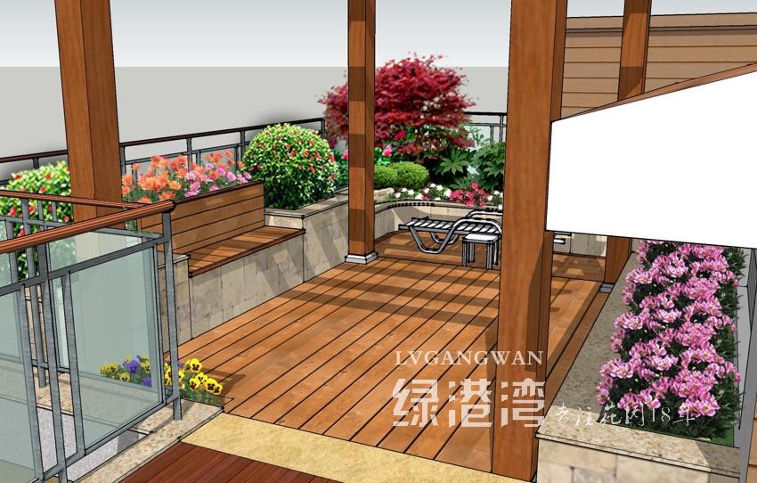 成都屋顶花园设计_3D效果图_【绿港湾园林】|成都别墅花园设计|成都屋顶花园设计 ...